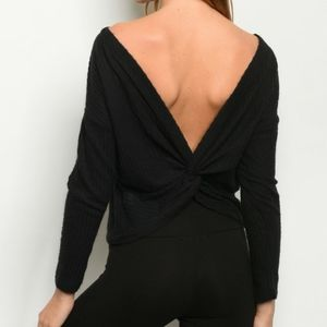 2/$45 NWT Black Twist Back Waffle Knit Top